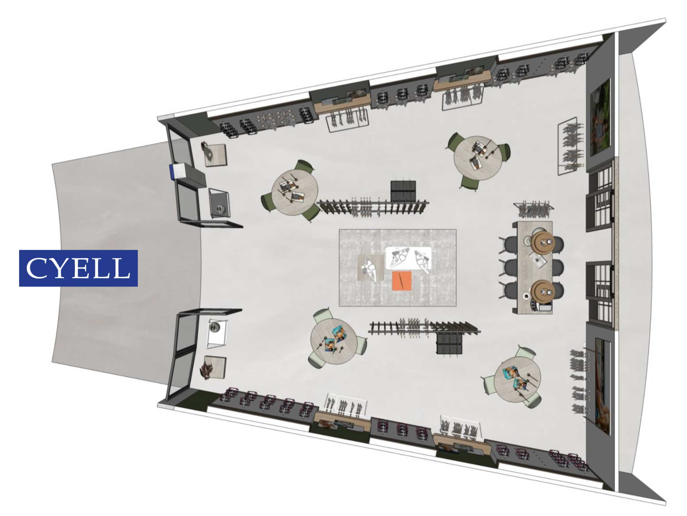 Cyell showroom plattegrond