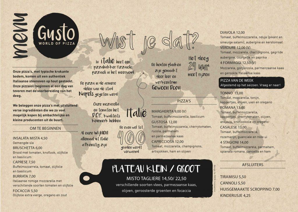 Menu van Gusto, BIEN ontwikkelde visuele identiteit voor Gusto en vertaalde dit naar het menu